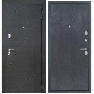 Стальная дверь ИНТЕКРОН СЕНАТОР Скол дуба черный (гладкая)